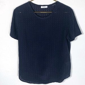 Equipment Navy Riley Laser Cut Silk Tee